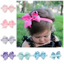 1PCS Girl Headbands Bow Hairband Elastic Wave Point Dots Ribbon Bow knot Photography For Children Hair Accessory Best Gift 2017