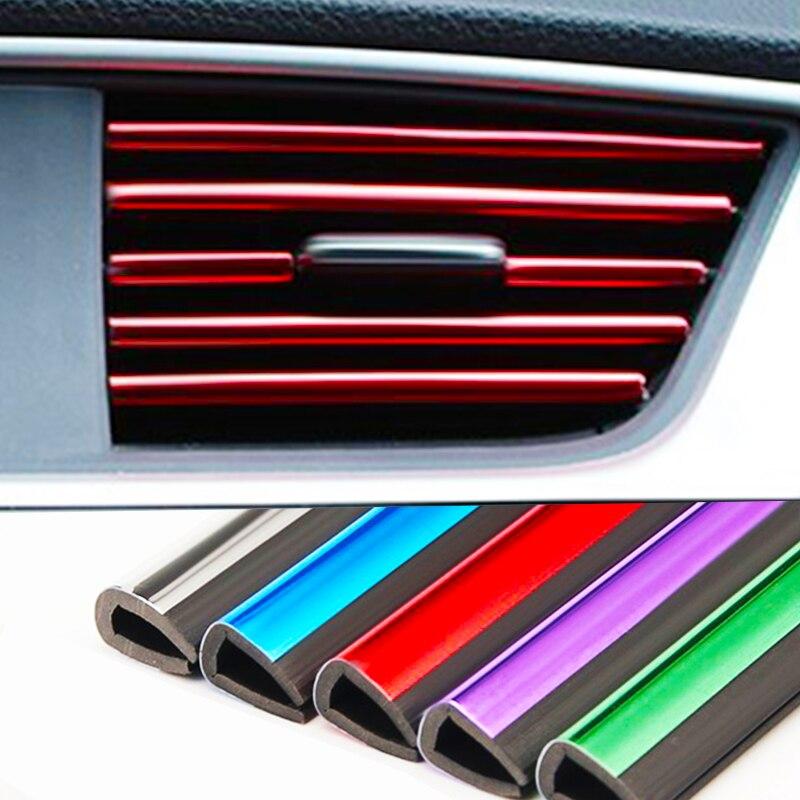 HOYOO 10 pçs/lote Chapeamento de Carro-styling Guarnição Interior Tira Saída de Ar Air Vent Grelha Chave Rim Guarnição Decoração Tira Tomada DIY