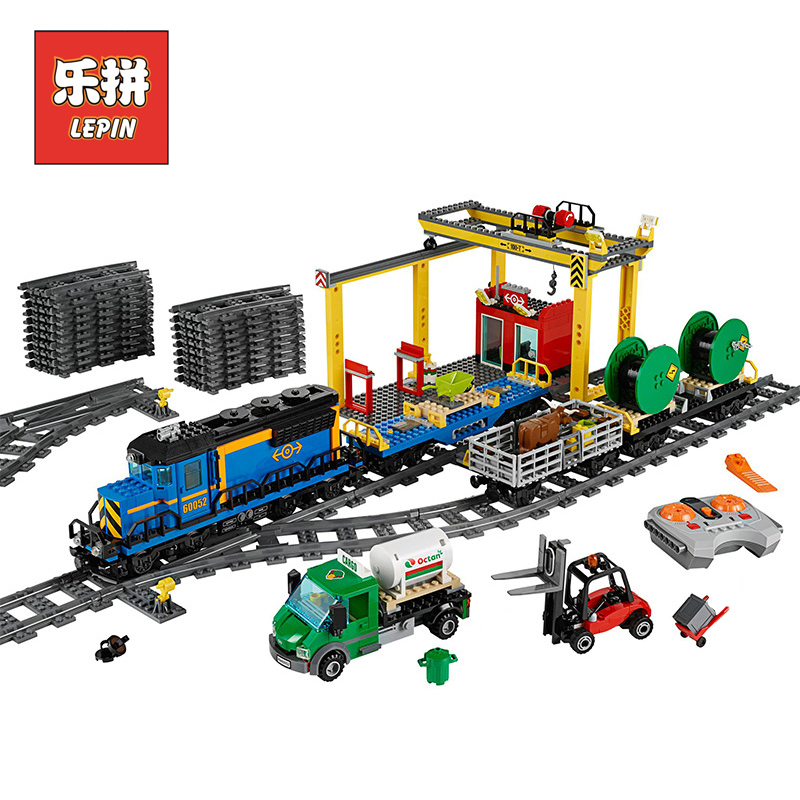 Lepin 02008 959Pcs City Series The Cargo Train Set LegoINGlys 60052 RC Model Building kits Blocks Bricks Toys for Children Gifts lepin 02008 the cargo train 959pcs city series legoingly 60052 plate sets building nano blocks bricks toys for boy gift
