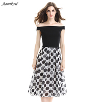 Aamikast Womens Backless Chiffon Summer Polka Dot Slash Neck Tunic Pinup Wear To Work Office Casual Party Pleated Skater Dress