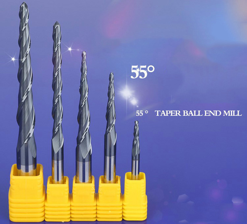 HRC55 2F solid carbide 4mm 6mm 8mm 10mm 12mm Ball Nose Tapered End Mills router bits cnc router taper wood metal milling cutter