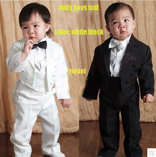 baby boy Five pieces clothing set Children tuxedo kids formal suit Baby Boys Blazers suits black white 1-4 Year