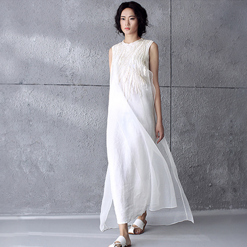 US $21.0 |Women Dress Plus Size XL Linen Cotton Chiffon Maxi Dress Solid  Color Embroidery O Neck Long Dress White Sleeveless Summer Dress-in Dresses  ...
