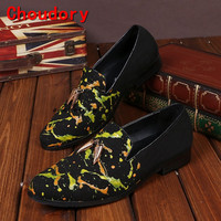 Choudory Men Velvet Casual Loafers Leather Slip on Dress Shoes Handmade Smoking Slipper Men's Flats Party and Wedding Shoe