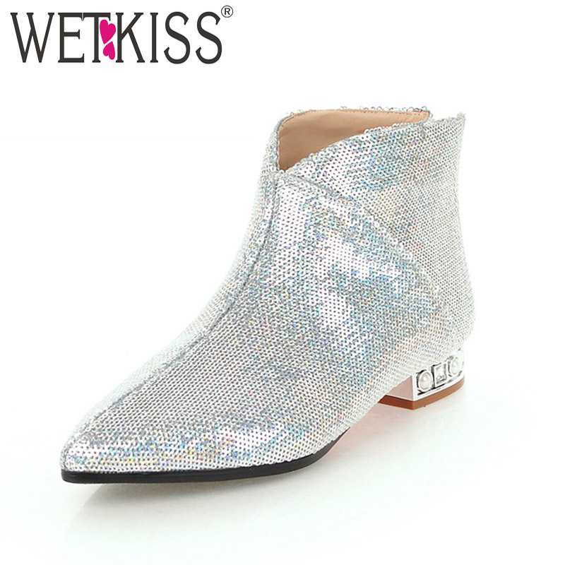 WETKISS Ankle Women Booties 2018 Pointed Toe Bling Pearl Footwear Zip Female Boots Thick Heels Women Shoes Black Plus Size 32-43 wetkiss pearl high heels women ankle boots pointed toe footwear stretch female sock boots fur suede shoes woman plus size 32 43