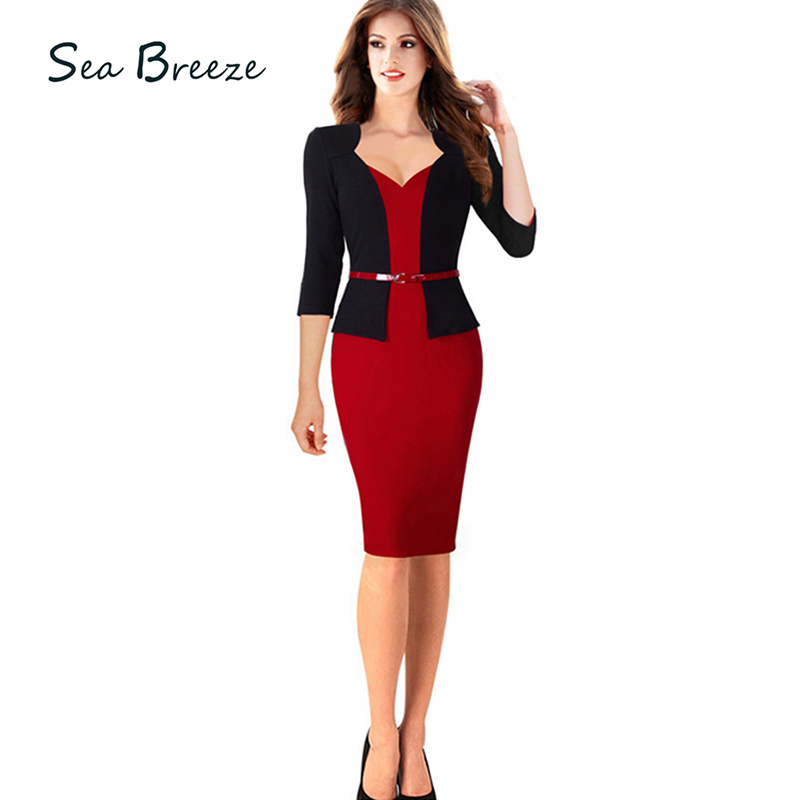 Sea Breeze Women Fashion Fake Two Pieces Sexy V Neck