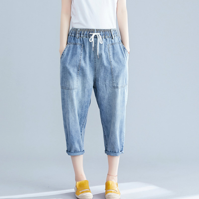 THHONE Jeans Women   Pants     Capris   High Waist Big Pockets Casual Trousers Vintage Washed Denim   Pants   Jeans Female Femme Mujer Jean