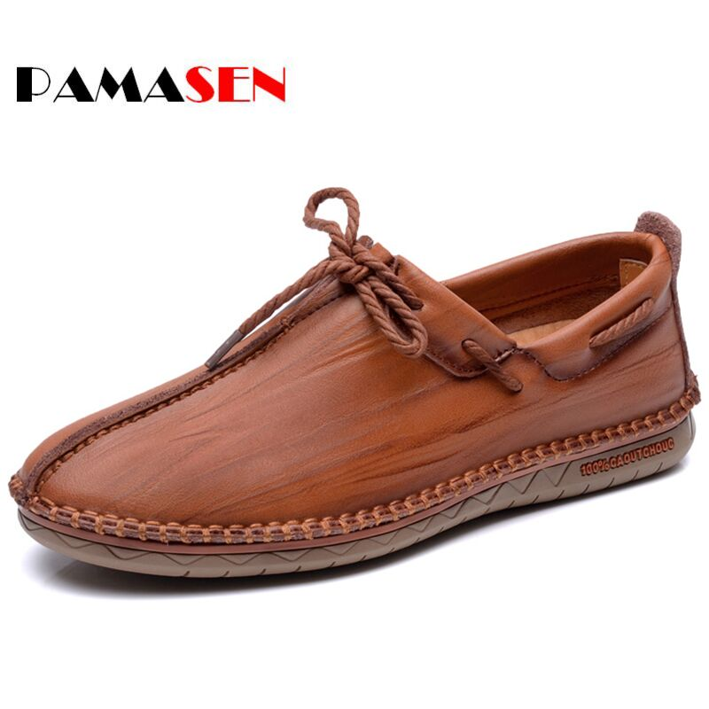 PAMASEN New Round Toe Business British Lace-up Men Flats Shoes Genuine Leather Casual Shoes Loafers Shoes Real Leather Men Flats shoes men genuine leather lace up flats shoes round toe casual shoes loafers moccasins high quality men shoes