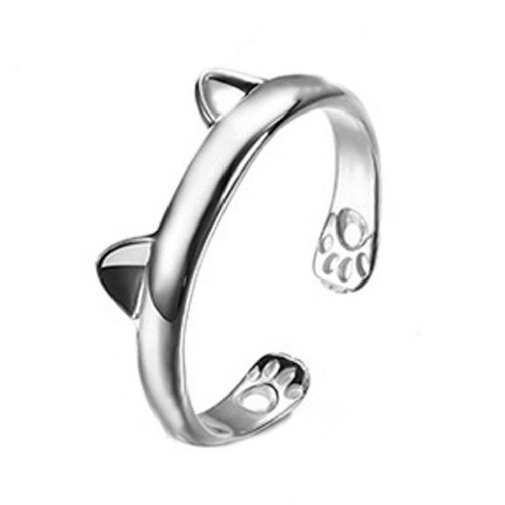 Midi Finger Boho Silver Plated Kitty Cat Ear Ring Cute Tiny Bear Ear Open Ring For Women Girl Child Gifts Adjustable Bijoux