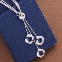 Модные элегантные дамские Цепочки и ожерелья 925 полая кулон длинные Цепочки и ожерелья Mulit цепи посеребренные изделия любящее подарок AN441