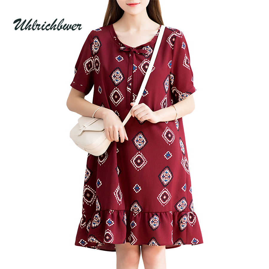 Buy Cheap UHLRICHBWER Summer Dress for Women Half sleeve Loose Large Size Dresses Lady Fashion Casual Chiffon Dress Vestido 17014-1