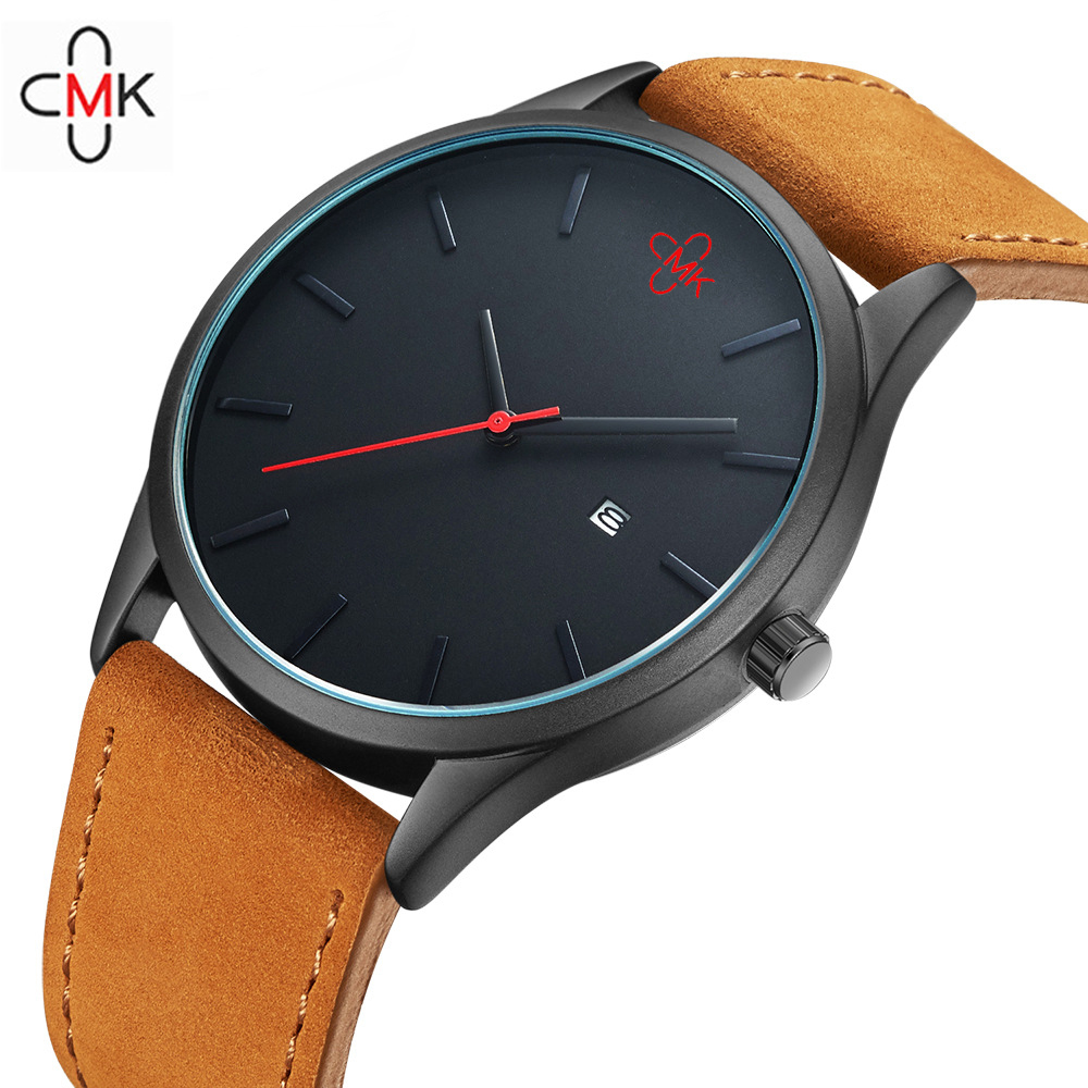2018 CMK Militar Homens de Negócios Relógios de Quartzo Top Marca de Luxo de Couro Esporte Ocasional Calendário relógio de Pulso Relogio masculino