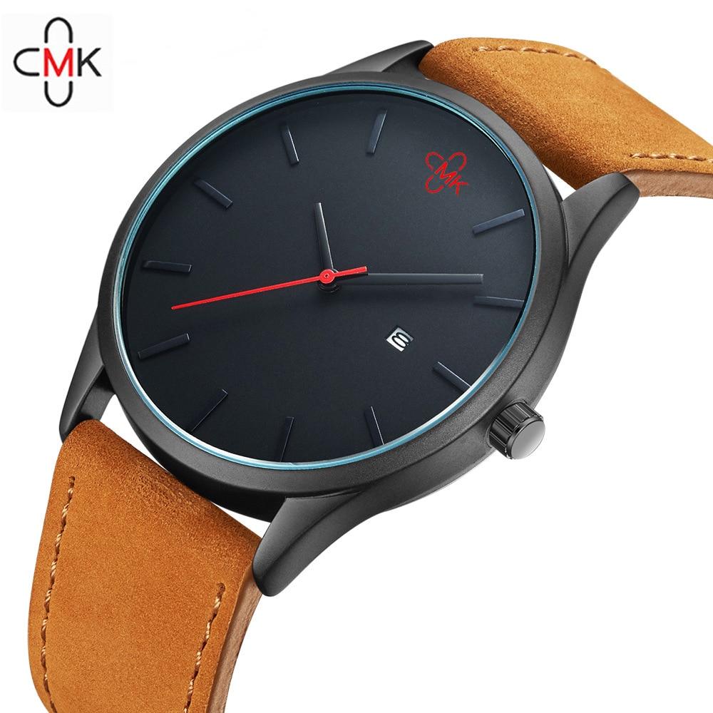 Caliente CMK de cuero militar de negocios de cuarzo relojes hombres de primeras marcas de lujo deporte casual reloj de pulsera casual reloj relogio masculino