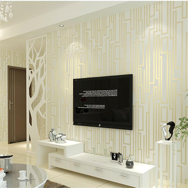 Beibehang papel de parede Living room TV background wallpaper simple modern non woven fabric wall bedroom 3D stereo vertical str modern minimalist striped glitter wall paper non woven wallpaper for living room sofa tv background wallcovering papel de parede