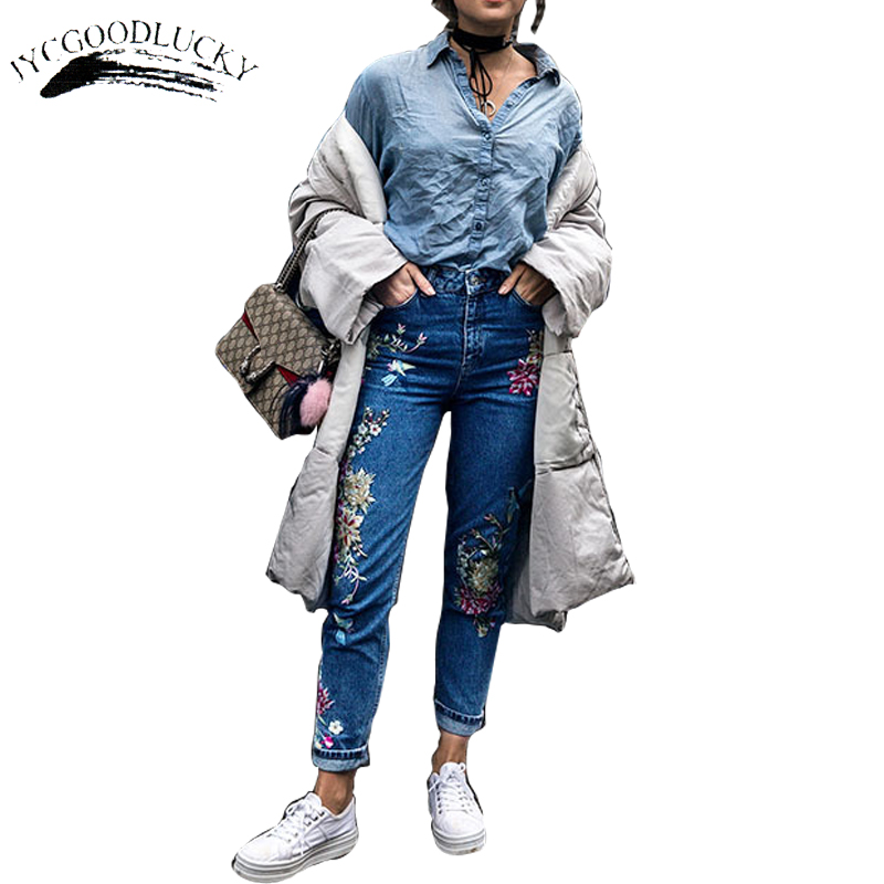 ФОТО Fashion Embroidery Jeans For Women High Waist Jeans Woman Hot Sale Plus Size Denim Pencil Jeans 2017 New Arrival Women's Jeans