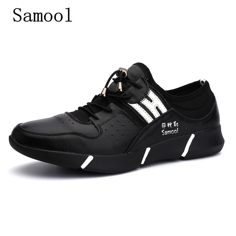 2017 Fashion Mens Casual Shoes Autumn Lace Up Style Genuine Leather Fashion Trend Flats Rubber Low heeled Men Business Shoes free shipping small size 38 39 44 men spring autumn flats boy genuine leather shoe students fashion trend lace up shoes non slip