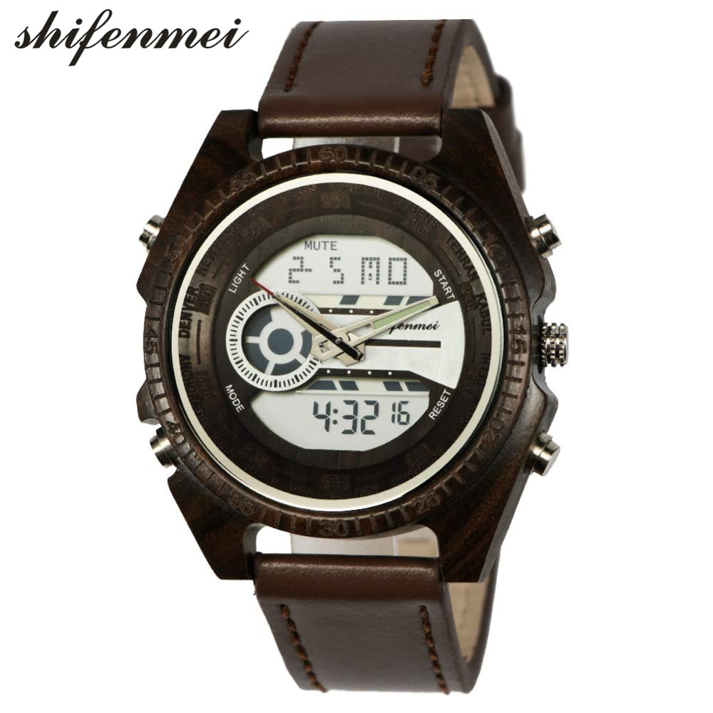 top luxury brand Shifenmei 2139 Antique Mens Zebra and Ebony Wood Watches with Double Display Business Watch in Wooden digital quartz watch drop shipping 2019 (30)