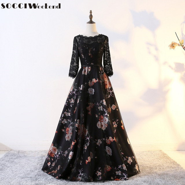 Elegant Long Evening Dresses Fashion Flowers Women Sleeves Prom Dress Lace V Back Formal Wedding Party Gowns