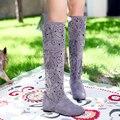 Venda quente barato 2013 primavera recorte e verão fresco-alta perna botas líquidos vaca sola muscular botas de malha mais size4-12/35-43 A137