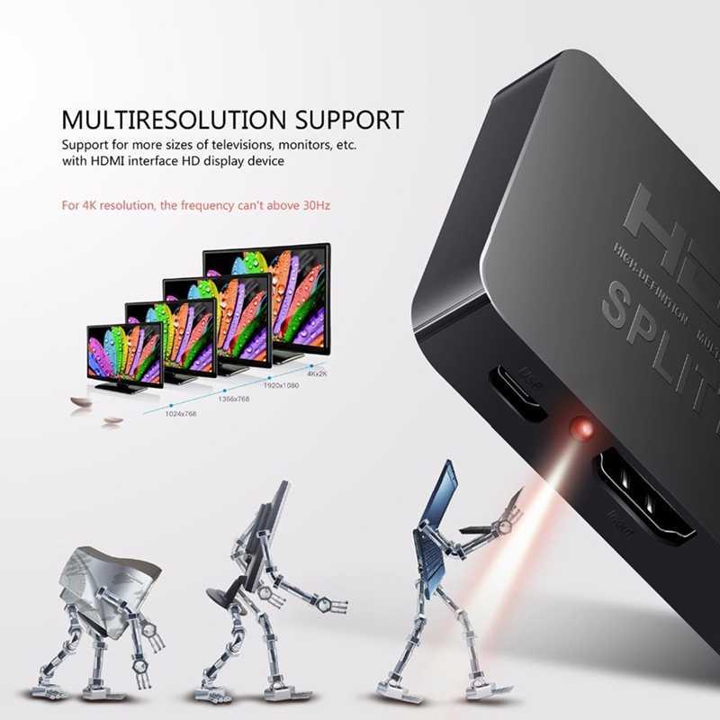 HDMI 1 na 2 wyjścia 1080p 4K 1x2 HDCP striptizerka 3D Splitter wzmacniacz sygnału audio wideo dystrybutor dla projektorów, DLP, LCD