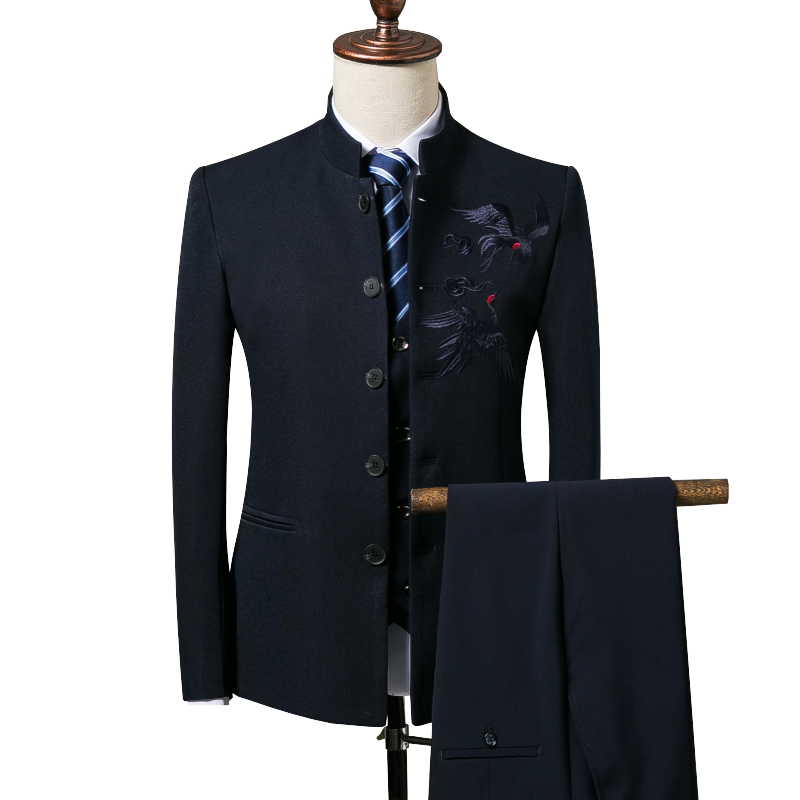 Men's Blazers Business Gentleman Chinese Style Chinese Collar Collar Embroidery Slim Suit 3 Piece Set (coat + Vest + Pants) 4XL