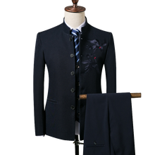 Men's blazers business gentleman Chinese style Chinese collar collar embroidery slim suit 3 piece set (coat + vest + pants) 4XL excellent chinese business practice chinese edition for business man