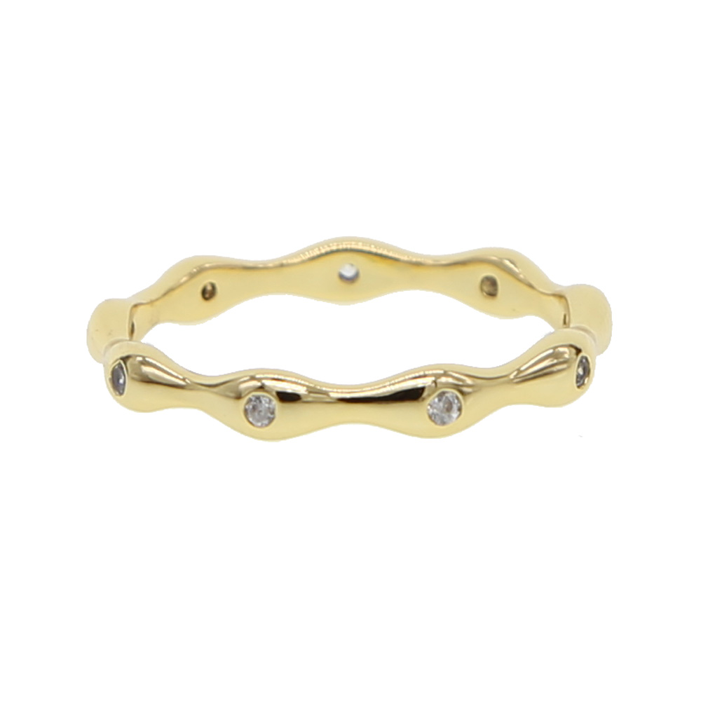 Wedding Bands Rings For Women Fashion Metal brass copper Engagement Party Trendy Cubic Zirconia Gold-color Ring Jewelry