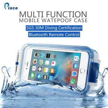 Pixco for Android iPhone 6 7 plus 8 case, 30M Bluetooth Waterproof Diving Case remote
