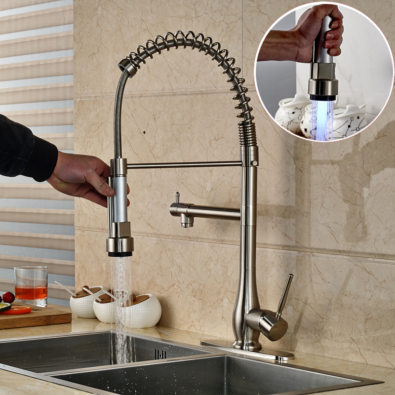 Modern LED Color Changing Kitchen Faucet Water Taps Single Lever Dual Spout with Hot and Cold Water Pipes