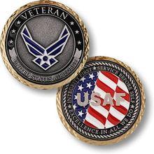 50pcs/lot Free Shipping,U S Air Force Veteran Challenge Coin Military Airman Unit Medallion Talisman