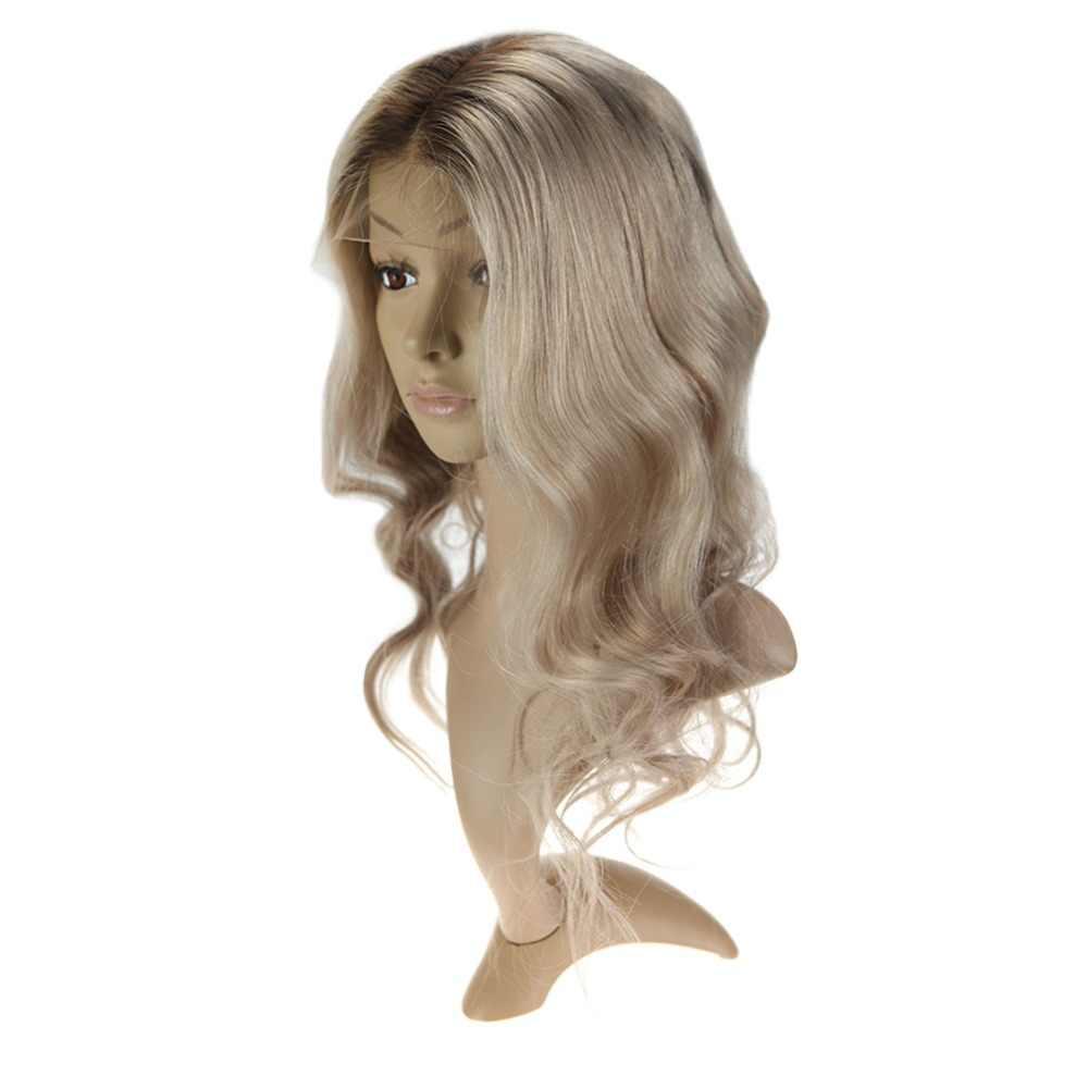 Полный блеск долго естественная волна Синтетические волосы на кружеве парики с волосами младенца Цвет #6 выцветанию #18 пепельный блондин выделены #6 парик из натуральных волос