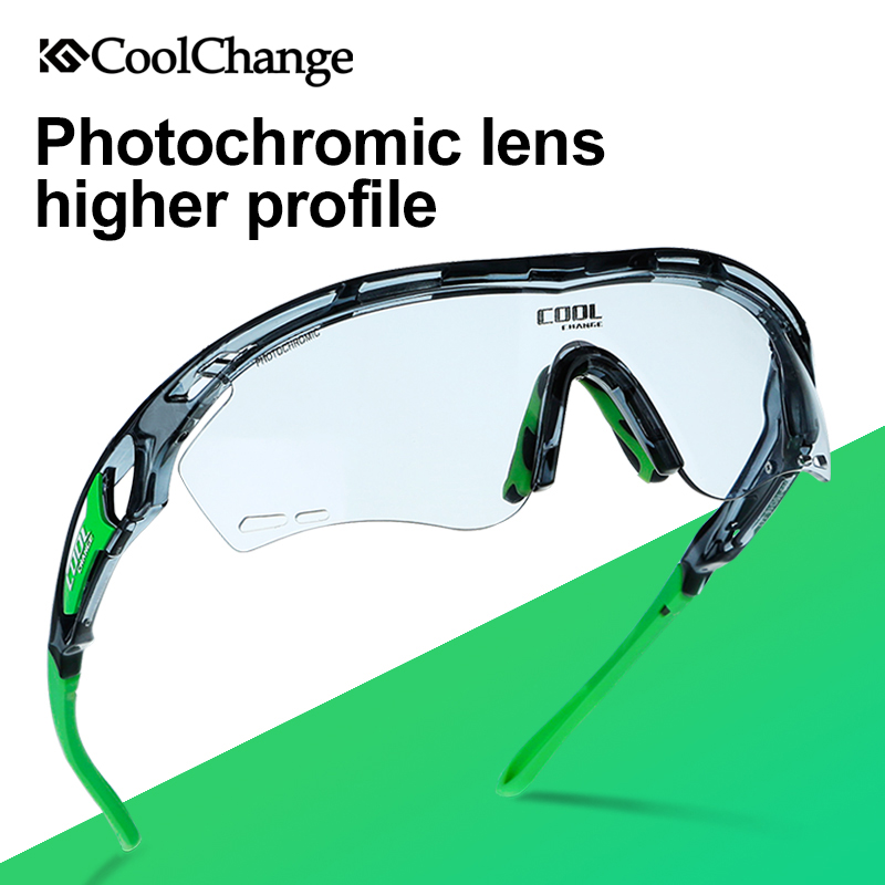 CoolChange Photochromic Polarized Cycling Glasses Bike Eyewear Sports Sunglasses MTB Bicycle Goggles Riding Fishing Myopia Frame queshark polarized cycling sunglasses mountain road bike glasses riding bicycle goggles hiking sports eyewear with myopia frame