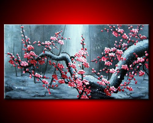 hand painted wall pictures decoration Snow in winter plum ...