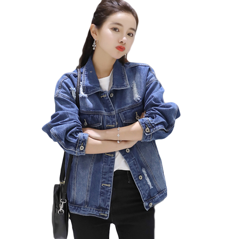 2019 New Arrival Women Denim   Jackets   Vintage Casual BF Ripped Holes Coat Female Jeans Outerwear Women   Basic     Jacket   Coats D700