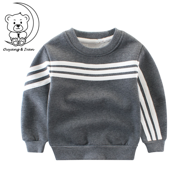 Childrens clothing Kids sweater boys long-sleeved 0-neck Hoodies warm outerwear sportswear gray sweatshirts with casual style