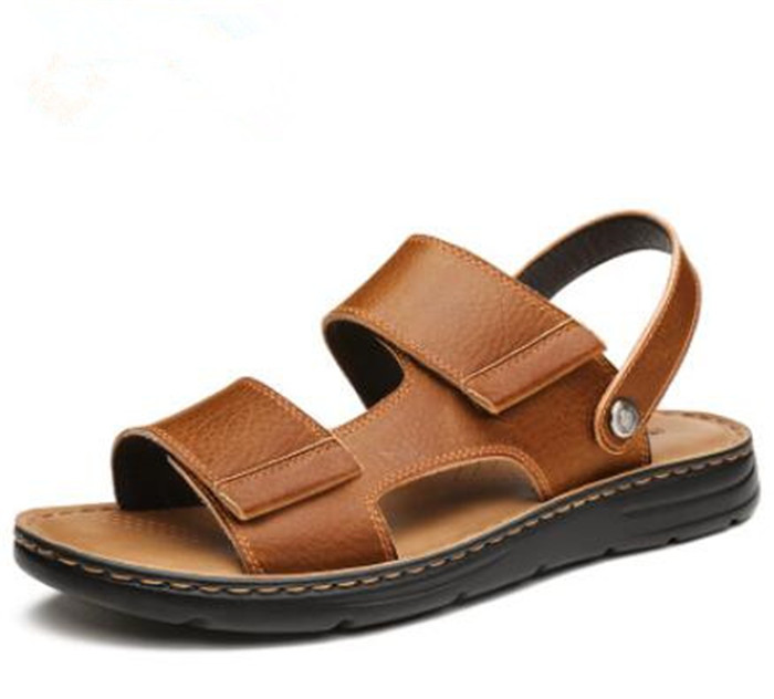 Summer British hook&loop leather beach sandals men Roman fashion sandals comfort thick bottom casual mens shoesSummer British hook&loop leather beach sandals men Roman fashion sandals comfort thick bottom casual mens shoes