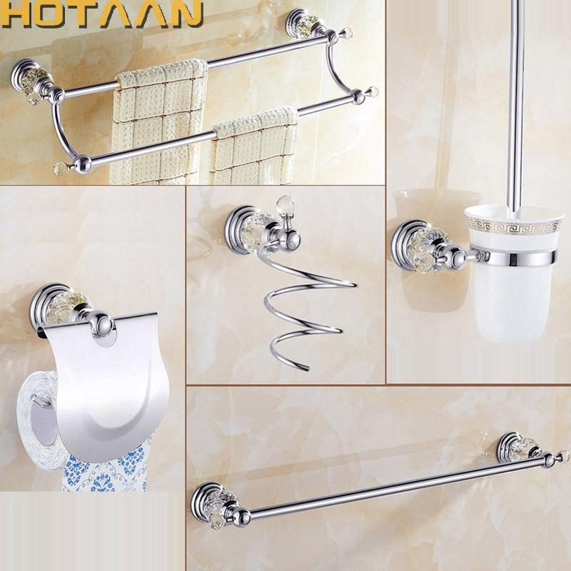 luxury crystal silver bathroom accessories set chrome polished brass bath hardware set wall mounted bathroom products