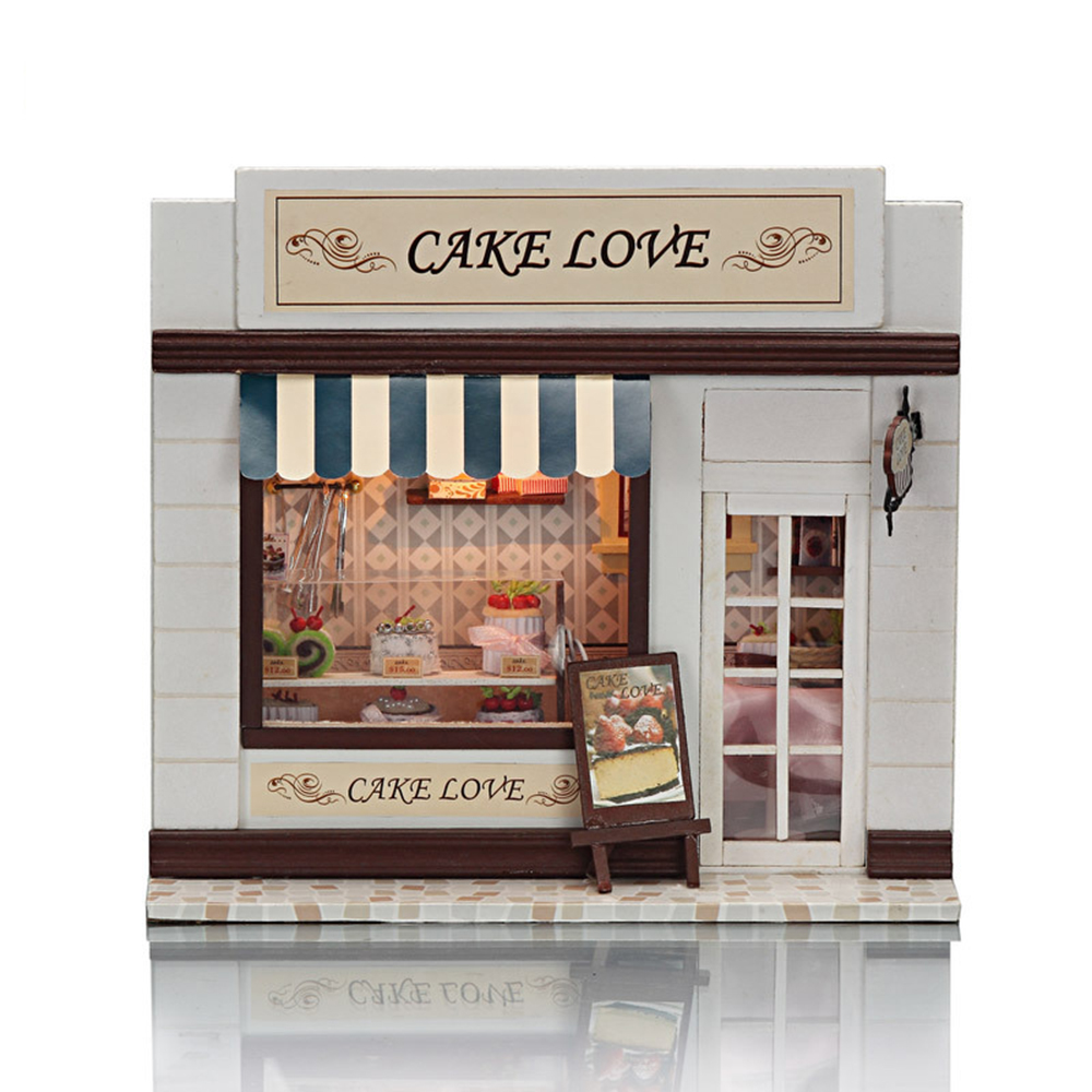 DIY Miniature Room Wooden Doll House Cake Love with Furniture LED Lights Dollhouse Toys for Children