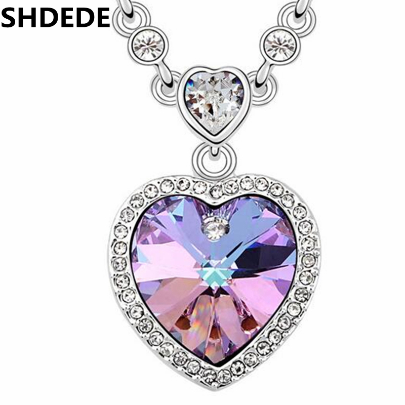 SHDEDE Heart Necklaces Pendants Crystal from Swarovski Elements Vintage Fashion Jewelry For Women -10800 mens watches oulm top brand luxury military quartz watch unique 3 small dials leather strap male wristwatch relojes hombre