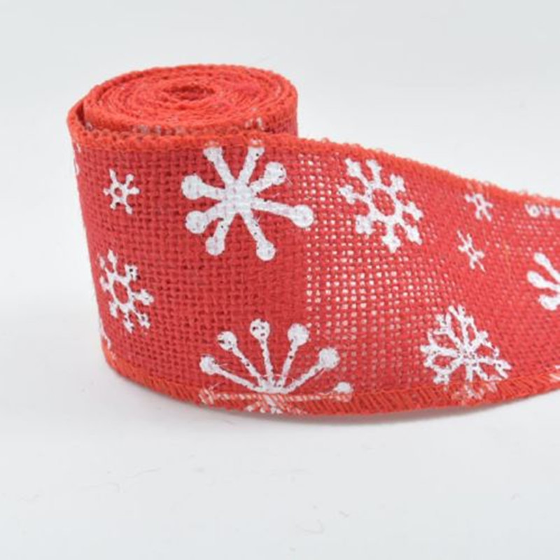 Natural Jute Hessian Ribbon Red