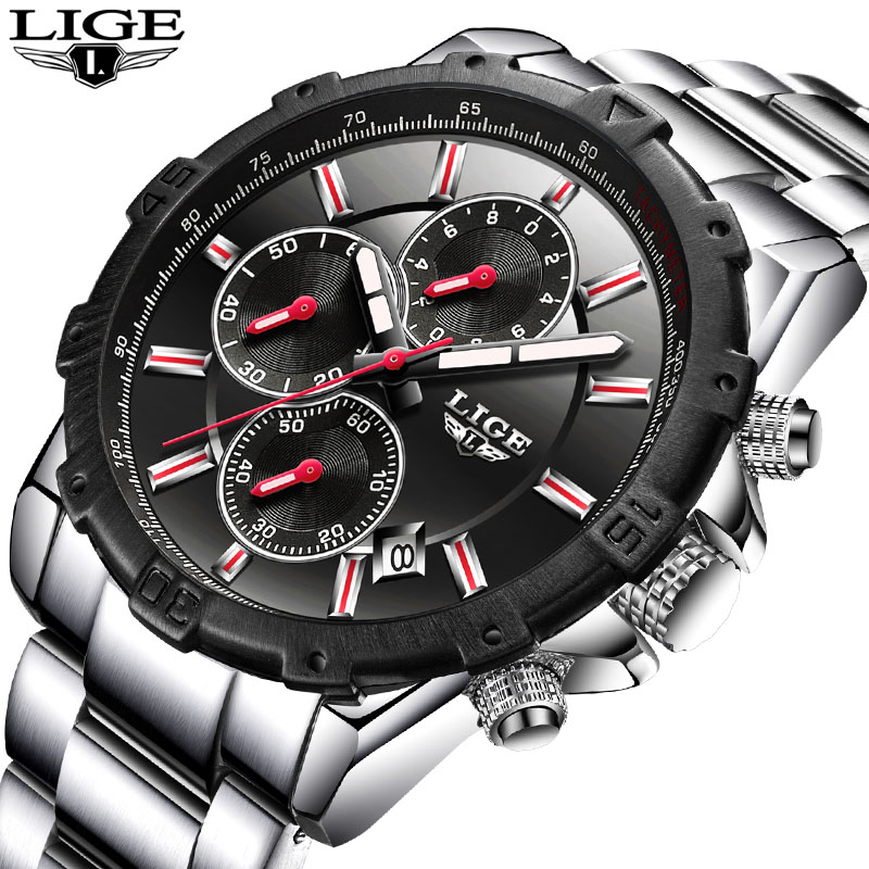 LIGE Mens Watch Top Luxury Brand Fashion Business Watches Casual Waterproof Sports Steel Quartz Watch Men Relogio Masculino+Box