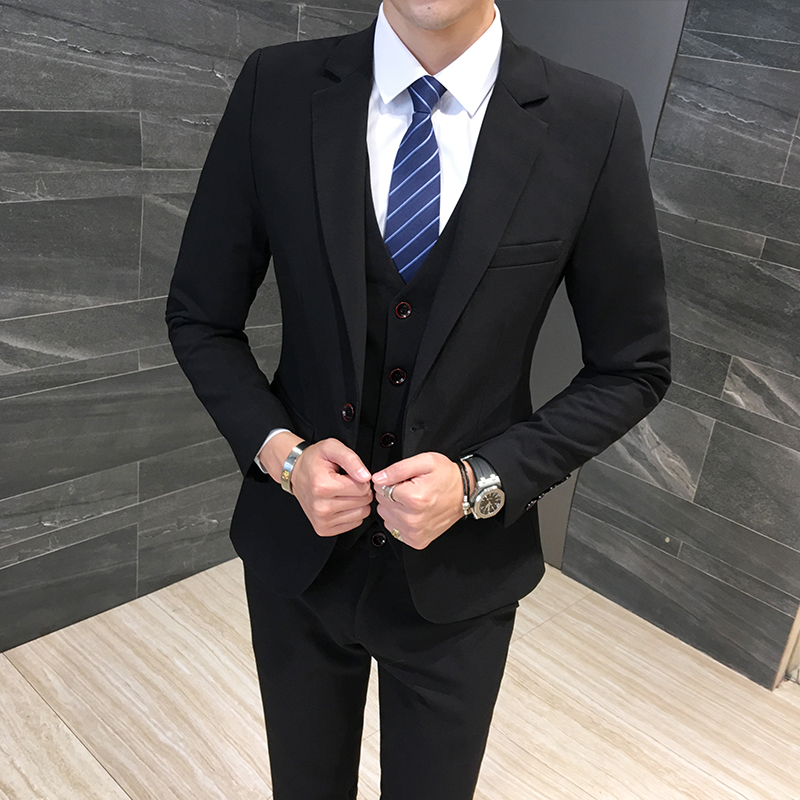 Classic Formal Dress Men Suit Jackets + Vest + Pants Fashion Leisure Mens 3 Piece Suit Size S-6XL Wedding Suits For Man Black