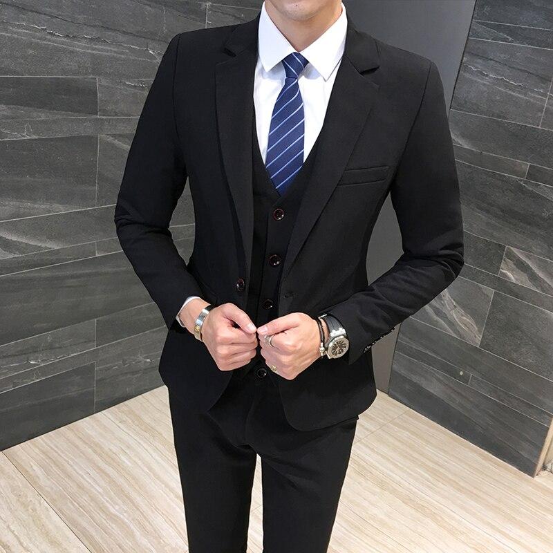 Klassische Formale Kleid Männer Anzug Jacken + Weste + Hosen Mode Freizeit Herren 3 Stück Anzug Größe S 6XL Hochzeit Anzüge für Mann Schwarz