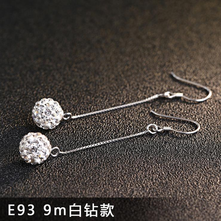 925 Silver Jewelery Shambhala Drop Earrings For Women Dangles Long Chains Crystal Ball Fashion Findings New 49mm Length 1 pair