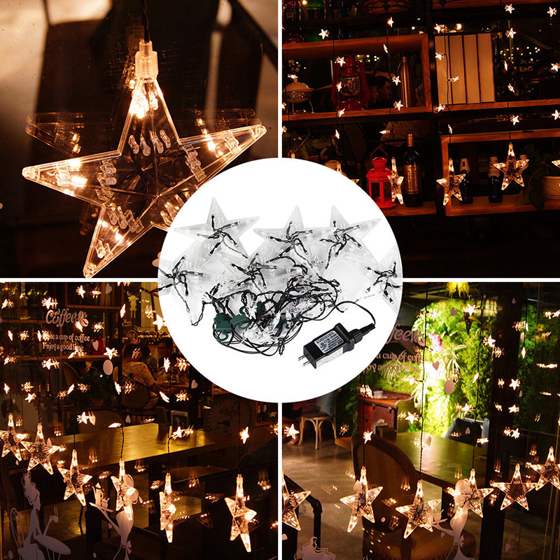1M 60 Star Led Curtain String Light Warm white Xmas Garland Light For Wedding Party Holiday Decor Waterproof Shipping From US 12 leds romantic fairy star led curtain string light warm white eu us 220v xmas garland light for wedding party holiday deco