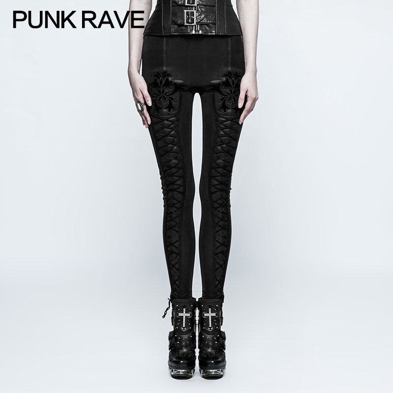 2018 punk rave steampunk rock visuel kei sexy vêtements Goth cravate corde bandage épaissi Leggings K294