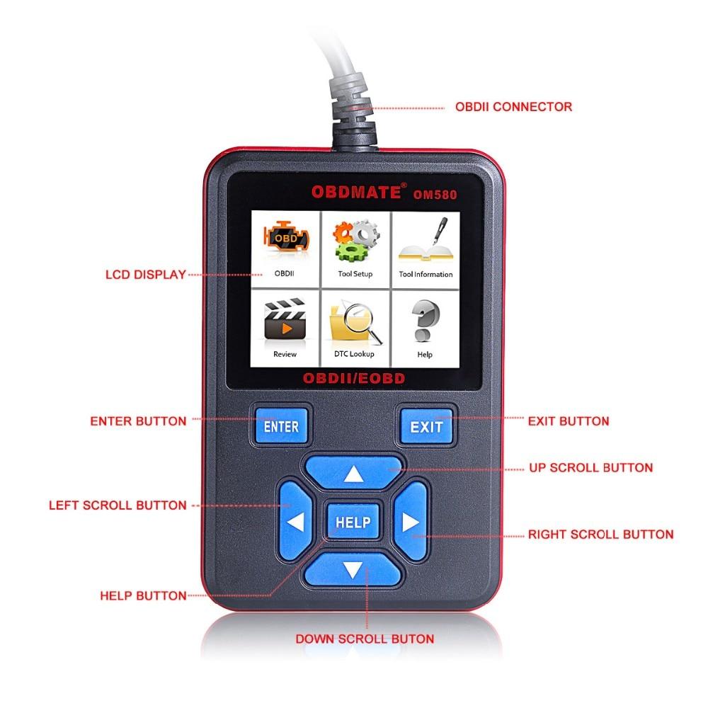 Autophix OM580 OBD2 EOBD Scanner Automotive Engine Code Reader free shippinng diy om580 obd scanner automotive obd2 eobd car code reader for engine abs dsc srs fault diagnostic tool