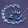 925 Libras Esterlinas Conjuntos de Jóias de Prata Místico Topázio Azul Natural Criado Brincos/Pingente/Colar/Anéis/Pulseira Para mulheres Caixa Livre