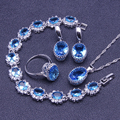 925 Sterling Silver Jewelry Sets Mystic Natural Blue Created Topaz Earrings/Pendant/Necklace/Rings/Bracelet For Women Free Box