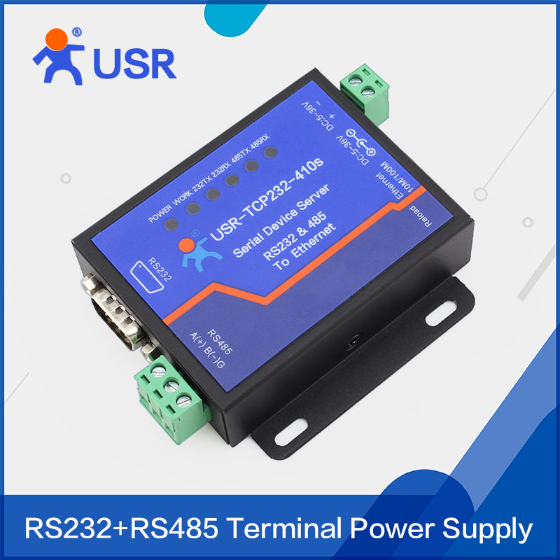 Q062 USR-TCP232-410S Terminal Power Supply RS232 RS485 to TCP/IP Converter Serial Ethernet Serial Device Server q18040 usriot usr n520 serial to ethernet server tcp ip converter double serial device rs232 rs485 rs422 multi host polling